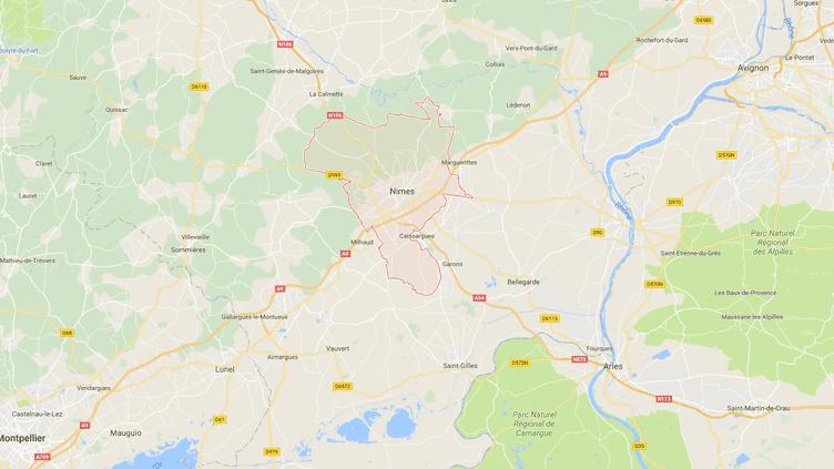 Carte de localisation de la ville de Nîmes, dans le Gard. (GOOGLE MAPS)