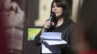 La candidatetête de liste du Printemps marseillais Michèle Rubirola lors d'un meetinf à Marseille (Bouches-du-Rhône) le 7 mars 2020. (PASCAL POCHARD-CASABIANCA / AFP)