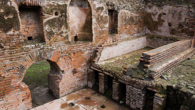 Les thermes romains inspirés de ceux de Néron, désormais visitables sur le site de Pompei (Italie), le 25 novembre 2019. (ELIANO IMPERATO / CONTROLUCE / AFP)