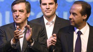 Le député de Paris François Fillon et le président de l'UDI, Jean-Christophe Lagarde (D), lors d'un meeting pour les élections régionales, le 27 septembre 2015à Nogent-sur-Marne (Val-de-Marne). (DOMINIQUE FAGET / AFP)