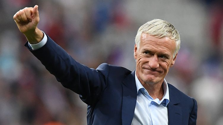 Didier Deschamps à l'issuede la victoire de l'équipe de France face à l'Angleterre, le 13 juin 2017 au Stade de France, à Saint-Denis. (FRANCK FIFE / AFP)