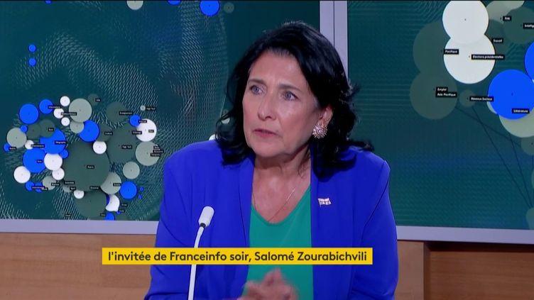 La présidente géorgienne Salomé Zourabichvili, sur franceinfo, le 28 août 2019. (FRANCEINFO)