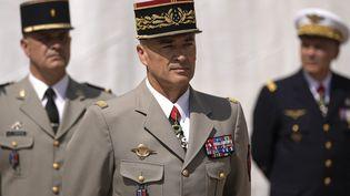 Le général Thierry Burkhard, lors de l'adieu aux armes du général Lecointre, à Paris, le 21/07/2021. (DANIEL COLE / POOL)