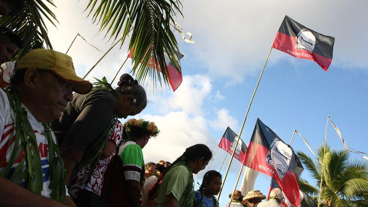 Manifestation contre les essais nucléaires en Polynésie française, le 2 juillet 2011. Ce jour-là, la place Jacques Chirac avait été renommée Place du 2 juillet 1966,date du 1er essai nucléaire à Muruoa. (MAXPPP)