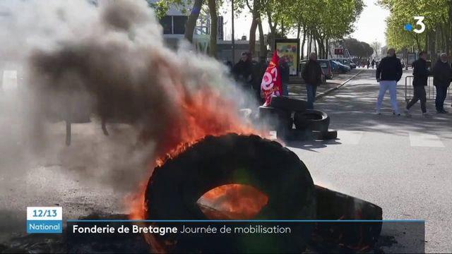 Morbihan : les salariés de la Fonderie de Bretagne manifestent contre la mise en vente de leur usine