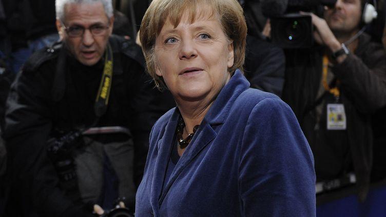 La chancelière allemande Angela Merkel arrive au sommet européen à Bruxelles, le 26 octobre 2011. (JOHN THYS / AFP)