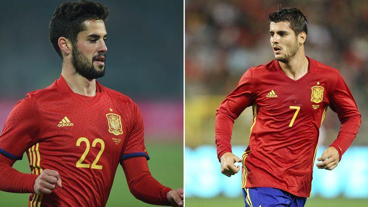 Les deux joueurs du Real Madrid sous le maillot de la Roja, Isco et Alvaro Morata
