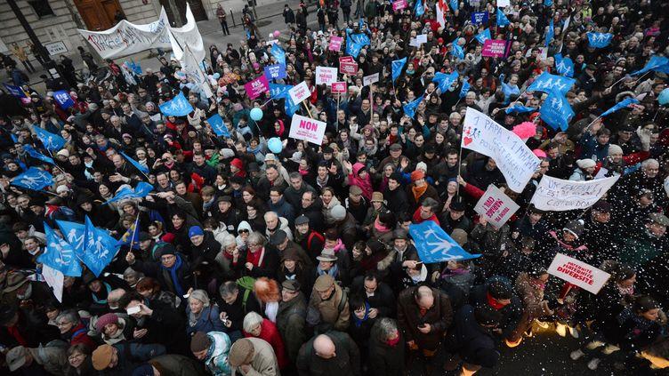 Manifestation contre le mariage des homos le 13 janvier 2013 à Paris. (DAMIEN MEYER / AFP)