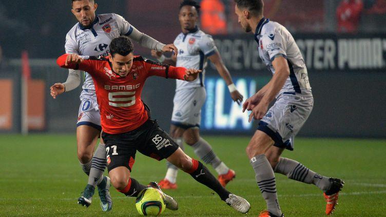 A l'image de Benjamin Andre, Rennes a dû s'employer face à Ajaccio (JEAN-FRANCOIS MONIER / AFP)