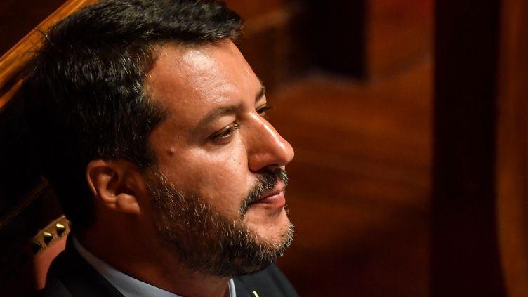 """Matteo Salvini est """"un homme qui est dangereux pour l'Italie, dangereux pour l'Europe, et dangereux pour la démocratie"""", selon P. Martin-Genier, spécialiste des questions européennes et enseignant à Sciences Po Paris. (ANDREAS SOLARO / AFP)"""