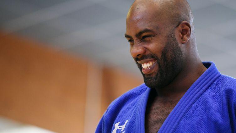 Le judoka double médaillé olympique Teddy Riner, à Le Mée-sur-Seine(Seine-et-Marne), le 16 avril 2018. (PHILIPPE MILLEREAU / DPPI MEDIA / AFP)