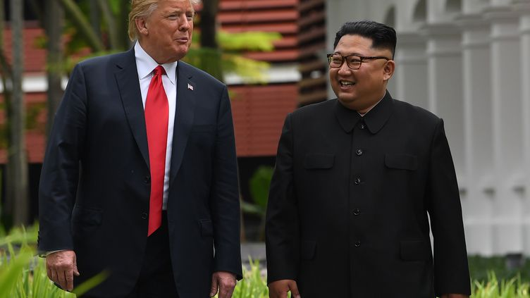 Donald Trump et Kim Jong un se rencontrent à Singapour, le 11 juin 2018. (SAUL LOEB / AFP)