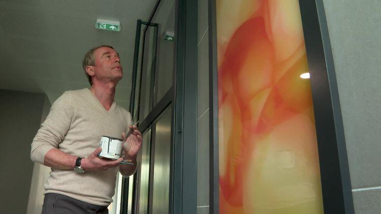 Guillaume Bottazzi devant l'une de ses créations installée dans une résidence de Bobigny (Seine-saint-Denis) (France Télévisions)