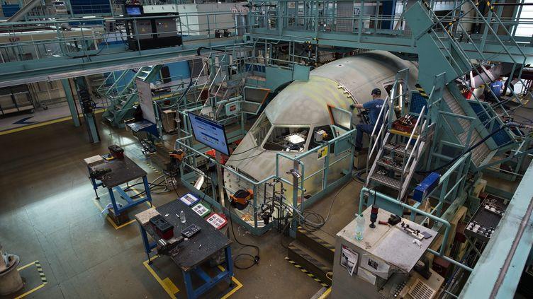 Un site d'assemblage d'Airbus à Saint-Nazaire (Loire-Atlantique). Photo d'illustration. (OLANRIVAIN / MAXPPP)