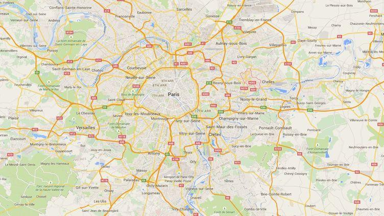 Capture d'écran de Google Maps pointant Gagny (Seine-Saint-Denis) où un enfant de 2 ans a été découvert mort, le 23 juin 2015. ( GOOGLE MAPS)