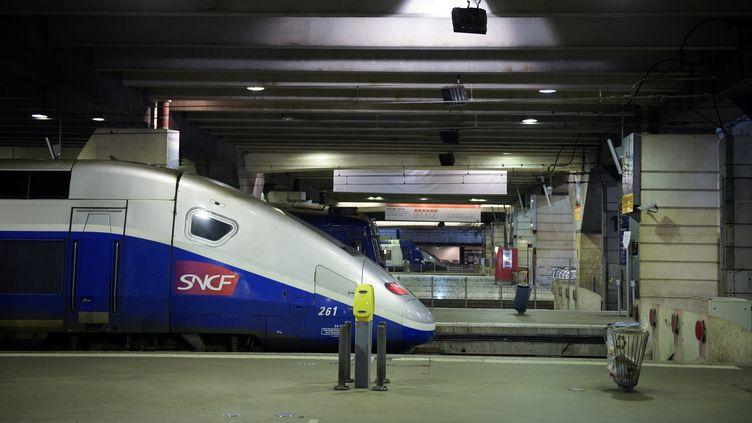 Un TGV à l'arrêt, le 3 décembre 2017 à la gare Montparnasse. (MARTIN BUREAU / AFP)