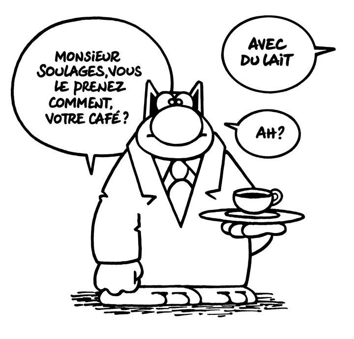 """""""Soulages Café"""", un dessin du Chat par Philippe Gelück. (PHILIPPE GELUCK)"""