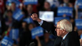 Le candidat Bernie Sandersannoncesa victoire dela primaire démocrate dans le New Hampshire, le 9 février 2016 à Concord (New Hampshire). (SPENCER PLATT / GETTY IMAGES NORTH AMERICA / AFP)