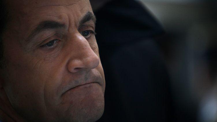 Le président de la République Nicolas Sarkozy à Lille (Nord), le 12 janvier 2012. (ALEXIS CHRISTIAEN / PHOTOPQR / MAXPPP)