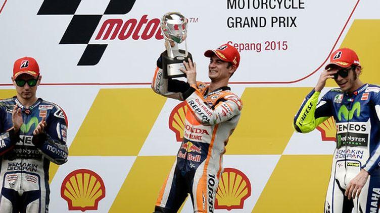 Le pilote espagnol Dani Pedrosa vainqueur en Malaysie devant Jorge Lorenzo et Valentino Rossi