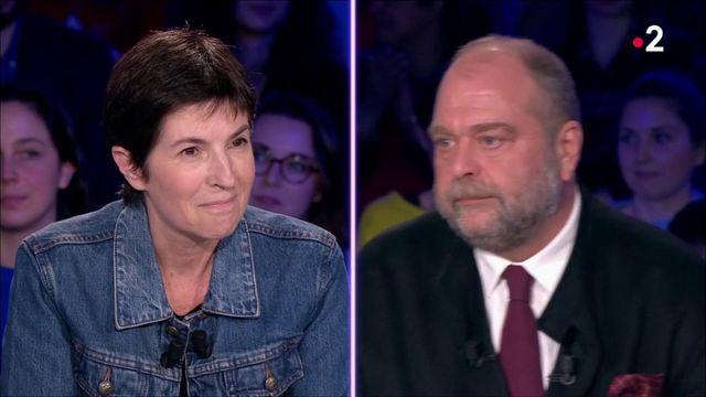 """VIDEO. """"Vous êtes très agressif, monsieur"""", la prise de bec entre Christine Angot et Eric Dupond-Moretti sur le plateau d'""""ONPC"""""""