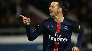 L'attaquant parisien Zlatan Ibrahimovic, lors du match PSG-Rennes, le 30 avril 2016 à Paris. (FRANCK FIFE / AFP)
