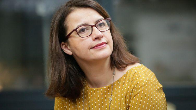 Cécile Duflot, lors des voeux à la presse de Yannick Jadot, le 10 janvier 2017. (THOMAS PADILLA / MAXPPP)