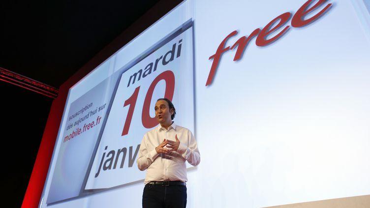 Le patron de Free, Xavier Niel, lors du lancement de l'offre Free Mobile, le 10 janvier 2012 à Paris. (THOMAS COEX / AFP)