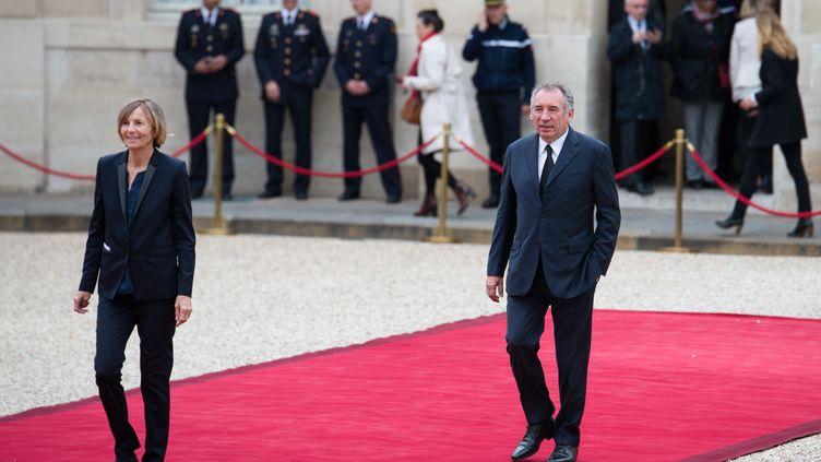 Marielle de Sarnez et François Bayrou arrivent à l'Elysée pour assister à l'investiture d'Emmanuel Macron, le 14 mai 2017. (CITIZENSIDE/QUENTIN VEUILLET / CITIZENSIDE / AFP)