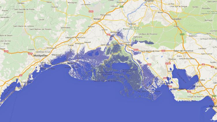 Avec une hausse des océans d'un mètre, laCamargueserait noyée sous les eaux, selon cette simulation réalisée à partir des données de la Nasa. (FIRETREE / GOOGLE MAPS)