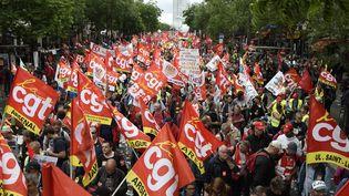 Une démonstration contre le projet de loi Travail à Paris, le 14 juin 2016. (DOMINIQUE FAGET / AFP)