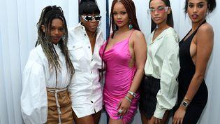 Renell Medrano, Rihanna, Nisaa Pouncey, inauguration de la novelle boutique éphémère de la chanteuse, New York, 19 juin 2019 (DIMITRIOS KAMBOURIS / GETTY IMAGES NORTH AMERICA)