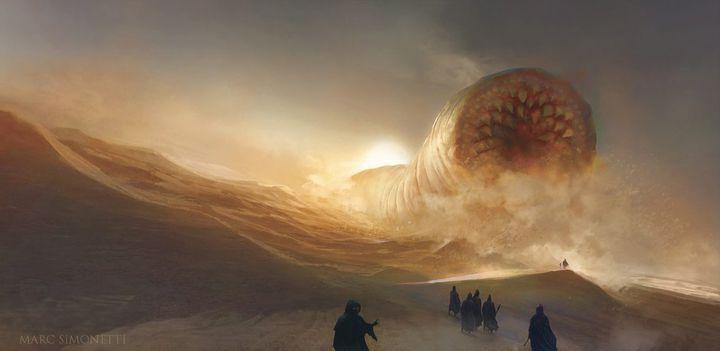 """Peinture promotionnelle pour le jeu vidéo """"Dune"""" du studio norvégienFuncom(2021). (Funcom)"""