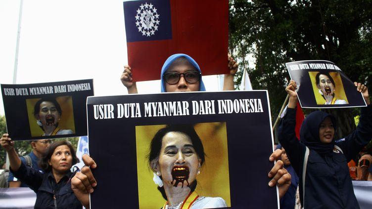 La répression des Rohingyas a poussé des citoyens indonésiens à descendre dans la rue. (ADITYA IRAWAN / NURPHOTO)
