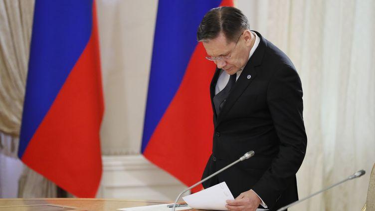 Le chef de l'agence nucléaire russe Rosatom,Alexey Likhachev, à Saint-Pétersbourg (Russie), le 6 juin 2019. (YURI KOCHETKOV / POOL / AFP)