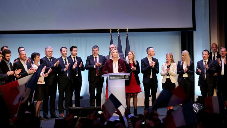 Marine Le Pen à Paris, à la Maison de la chimie pour la convention du Rassemblement national, le 12 janvier 2019. (MICHEL STOUPAK / NURPHOTO)
