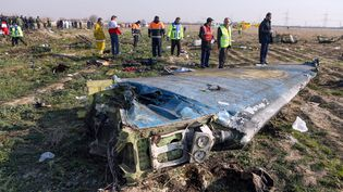 Le site du crash de l'avion de ligne ukrainien près de la capitale iranienne Téhéran, le 8 janvier 2020. (AKBAR TAVAKOLI / IRNA / AFP)