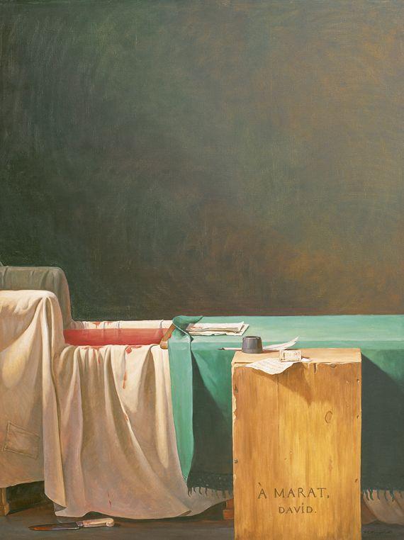 "Yue Minjun, ""The Death of Marat"", 2002. Huile sur toile. Collection privée, Pékin. ( YUE MINJUN PHOTO COURTESY YUE MINJUN STUDIO)"
