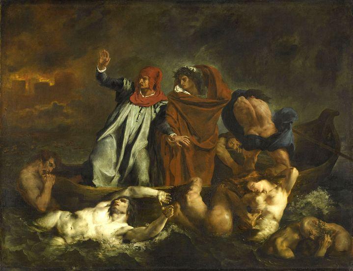 """Eugène Delacroix, """"Dante et Virgile aux Enfers"""", 1822, Salon de 1822, Musée du Louvre  (RMN-Grand Palais (musée du Louvre) / Franck Raux)"""