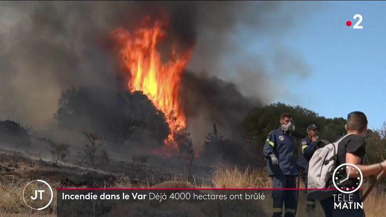 Des hommes luttant contre un incendie en Grèce. (France 2)
