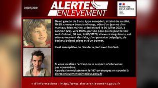 L'alerte enlèvement diffusée le 31 juillet 2021 pour retrouver Dewi, 8 ans. (MINISTERE DE LA JUSTICE)