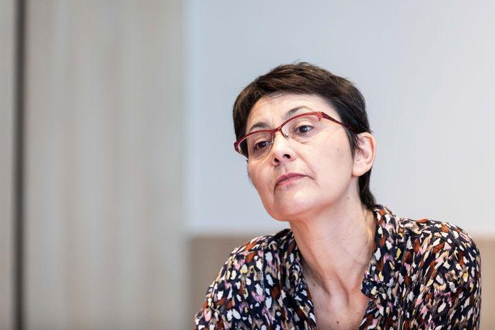 La tête de liste de Lutte ouvrière, Nathalie Artaud, lors de la présentation de son programme pour les européennes, le 29 mars 2019, à Paris. (MAXPPP)