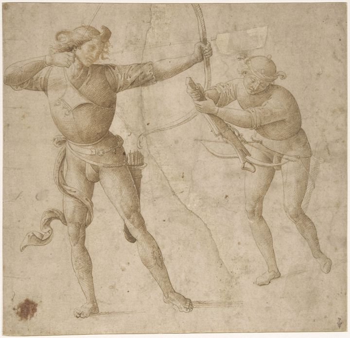 Un archer et un arbalétier. Pietro Vannucci, dit Le Pérugin (atelier de) (Città della Pieve, vers 1445-Fontignano, 1523). Plume et encore brune. (RMN – GRAND PALAIS (DOMAINE DE CHANTILLY) - GERARD BLOT)
