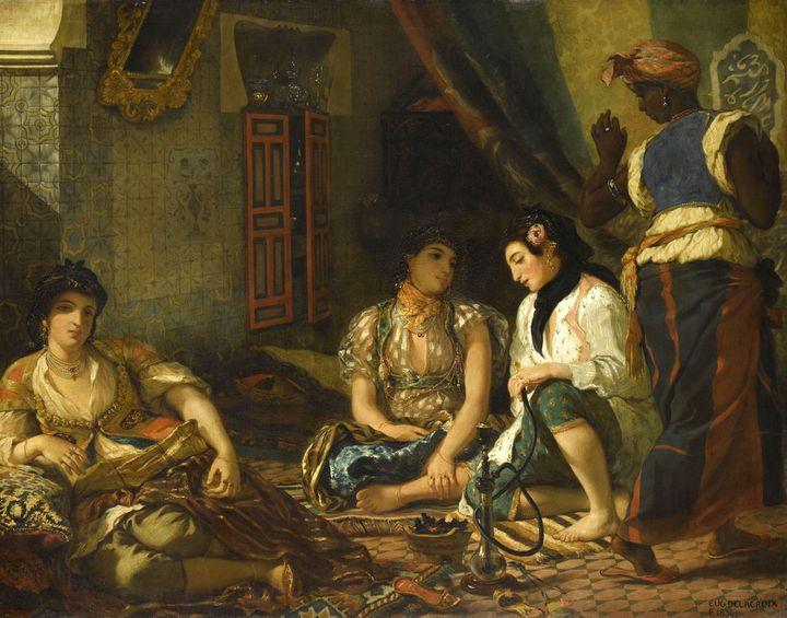 """Eugène Delacroix, """"Femmes d'Alger dans leur appartement"""", 1833-1834. Salon de 1834. Musée du Louvre  (RMN-Grand Palais (musée du Louvre) / Franck Raux)"""