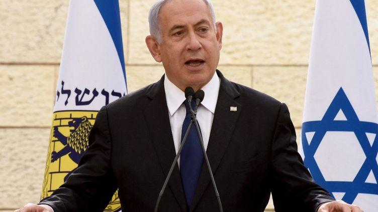Le Premier ministre israélien, Benyamin Néthanyahou, à Jérusalem, le 13 avril 2021. (DEBBIE HILL / AFP)