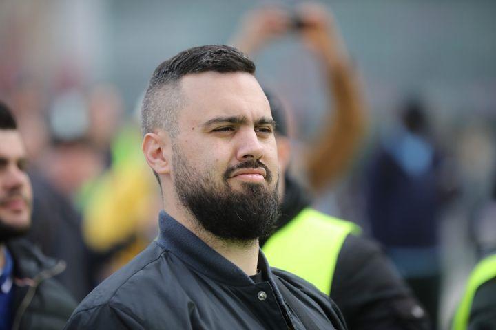 """Eric Drouet lors du 21e samedi de mobilisation des """"gilets jaunes"""", le 6 avril 2019. (MAXPPP)"""