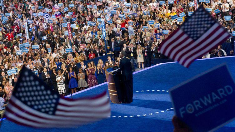 Le président des Etats-Unis, barack Obama, prononce le discours de clôture de la convention démocrate, le 6 septembre 2012, à Charlotte (Caroline du Nord). (SAUL LOEB / AFP)