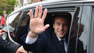 Emmanuel Macron, candidatd'En marche !, le 23 avril 2017 au Touquet (Pas-de-Calais). (ALEXEY VITVITSKY / SPUTNIK / AFP)