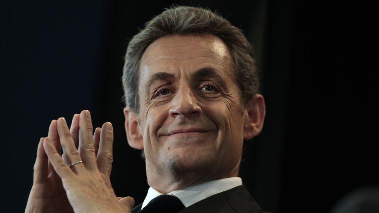 Nicolas Sarkozy le 26 mai 2015 au Havre (Seine-Maritime) lors d'un meeting de l'UMP. (CHARLY TRIBALLEAU / AFP)