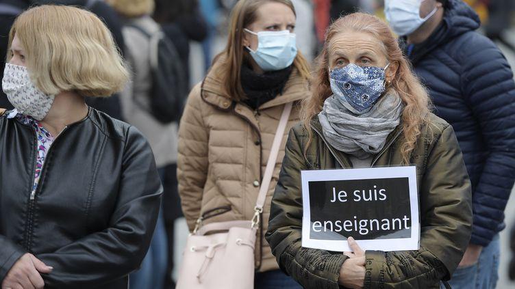 Lors d'un hommage à Samuel Paty, à Strasbourg (Bas-Rhin), le 18 octobre (photo d'illustration). (FREDERICK FLORIN / AFP)